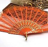 Orange Spanish Hand Fan Fabric Floral Floral Lace Edge Folding Hand Fans Dancing Party Fan Decor