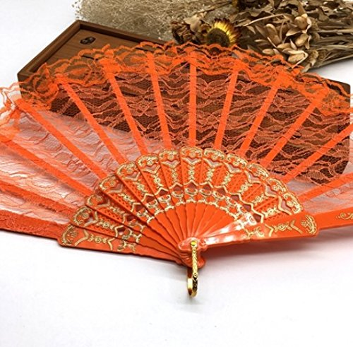 Orange Spanish Hand Fan Fabric Floral Floral Lace Edge Folding Hand Fans Dancing Party Fan Decor by Hand Fan