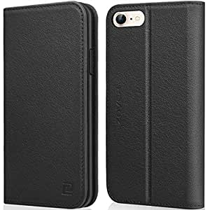 Zover iPhone 6S Plus Case iPhone 6 Plus case Genuine Leather Case Wallet Cover with Kickstand Feature Card Slots & ID Holder and Magnetic Closure for iPhone 6 Plus iPhone 6S Plus Black