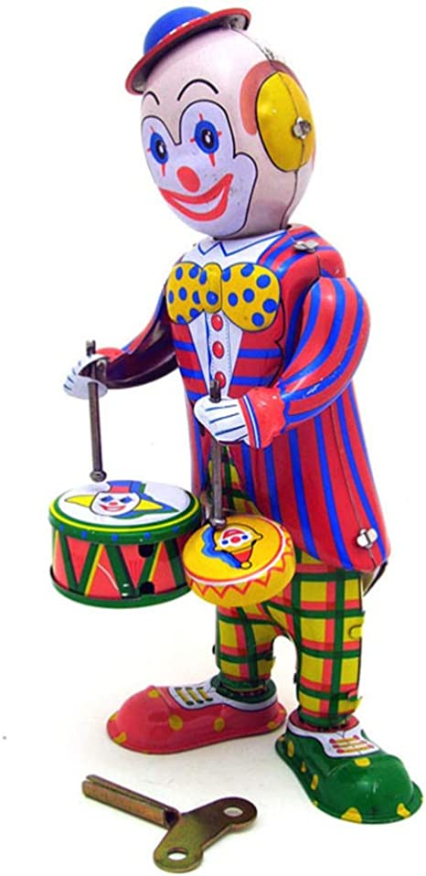 Vintage Clown Circus Round Tin Plate retro decor play display kids home serving eclectic  kitschy