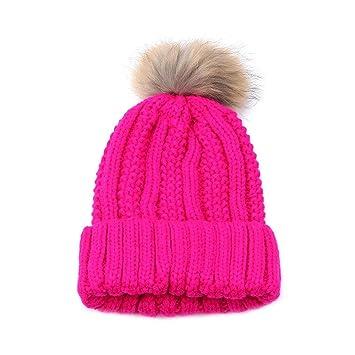 993b9470895 Amazon.com  Women Crochet Wool Knit Beanie Beret Ski Ball Cap Baggy Winter  Warm Hatby Sunfei (Hot Pink)  Beauty