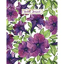 Bullet Journal: Violet Flower Garden, 160 Dot Grid Pages, 8 x 10 Blank Bullet Journal Notebook with 1/4 inch Dotted Paper, Perfect Bound Softcover