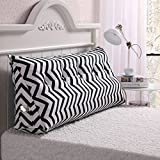 Vercart Sofa Bed Large Filled Triangular Wedge Cushion Bed Backrest Positioning Support Pillow Reading Pillow Office Lumbar Pad with Removable Cover Black-White 59x7.9x19inch
