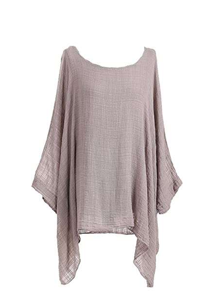 338b46fb6439c New Ladies Lagenlook Batwing Top Women Plain Linen Tunic Top Plus sizes  (Beige)  Amazon.co.uk  Clothing