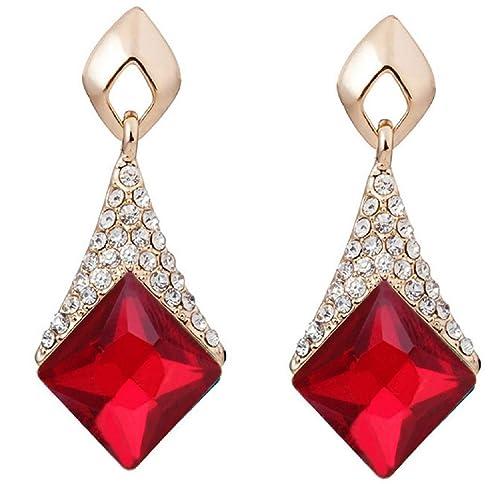 b48bbacdba59 Glitz - Pendientes de gota y colgantes de cristales cuadrados para  niñas mujeres su fiesta regalos aniversario - rojo  Amazon.es  Joyería