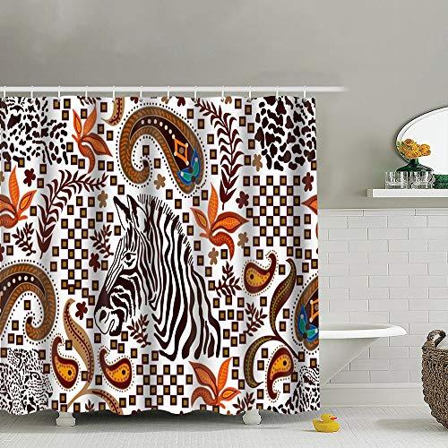 best bags Ethnic Paisley Zebra Print Leopard Animals Wildlife Beauty Fashion Polyester Fabric Shower Curtain Bathroom Curtain Hook 72X72 Inch