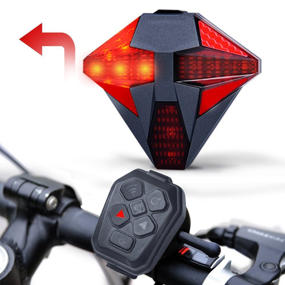 Bike Tail Lights Bicycle Tail Light with Turn Signal, USB Rechargeable Remote Control, Powerful Bright LED Rear Safety Light Red Back Cycling Warning Light - Fits on any Bicycles Waterproof Flashing