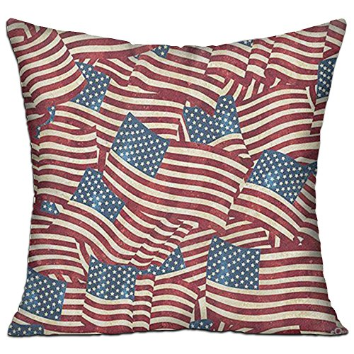 Vintage USA American Flag Pillow 18x18 Twin Sides, Retro Star Stripe American Patriotic Cotton Zippered Throw Pillows ()
