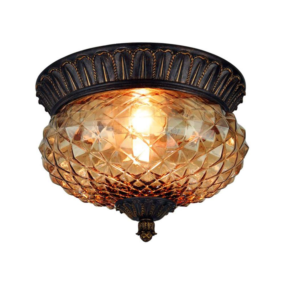 Pineapple glass balcony ceiling lights american rust carved resin