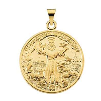 14k Yellow Gold St Francis Of Assisi Medal 26mm Amazon