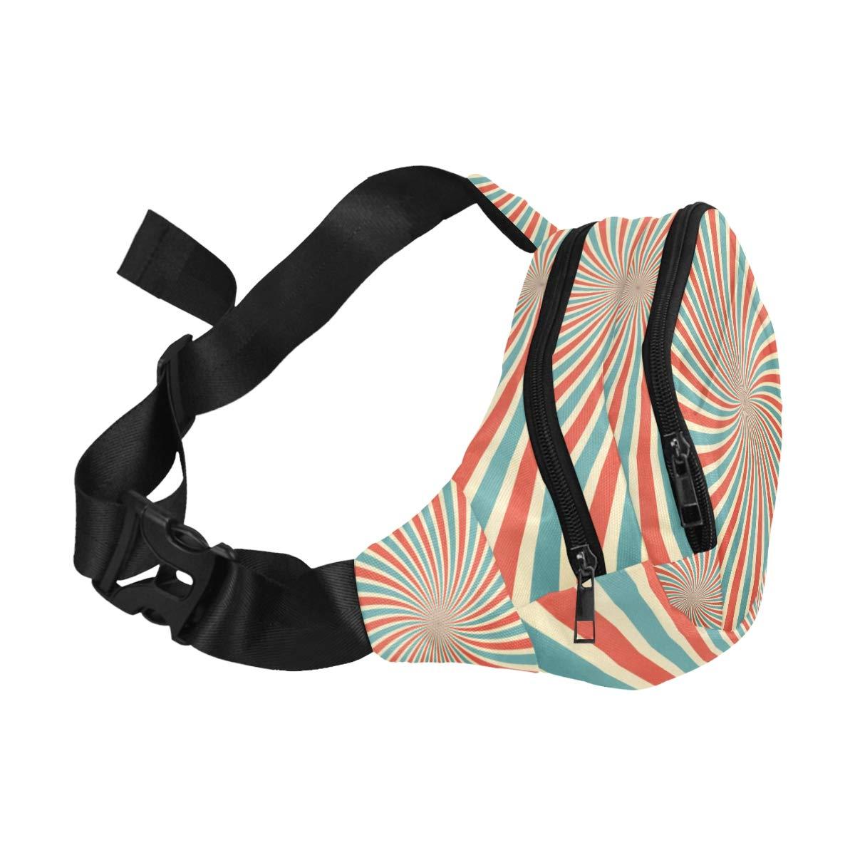 Sunlight Blue And Red Color Burst Fenny Packs Waist Bags Adjustable Belt Waterproof Nylon Travel Running Sport Vacation Party For Men Women Boys Girls Kids