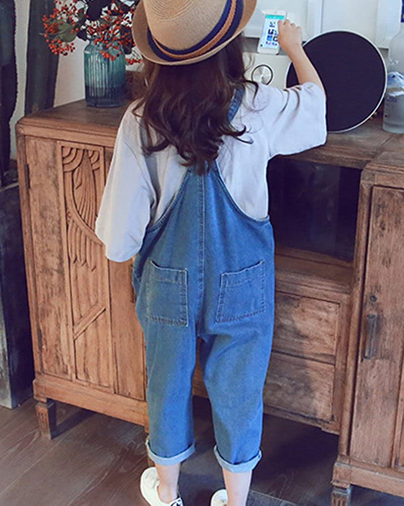 Guiran Girls Denim Dungarees Jeans Jumpsuit Harem Cropped Playsuit One Piece Pants All in One