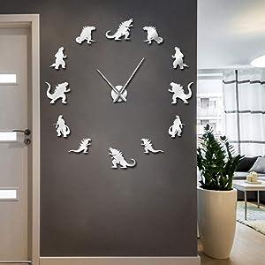 The Geeky Days Dinosaur Monster Home Decor DIY Large Wall Clock Modern Design Frameless Giant Wall Clock Kid Room Decorative Wall Art (Silver)