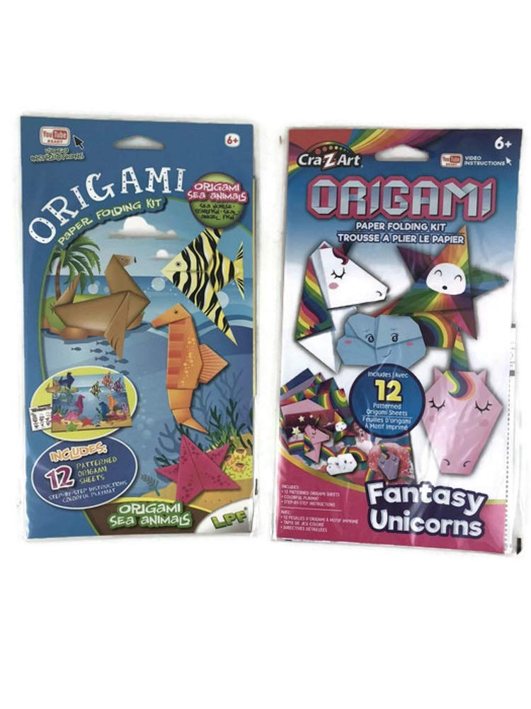 1 Sea Animals 2 Items; 1 Fantasy Unicorns Varies Step by Step Origami Paper Folding Kit for Kids Bundle