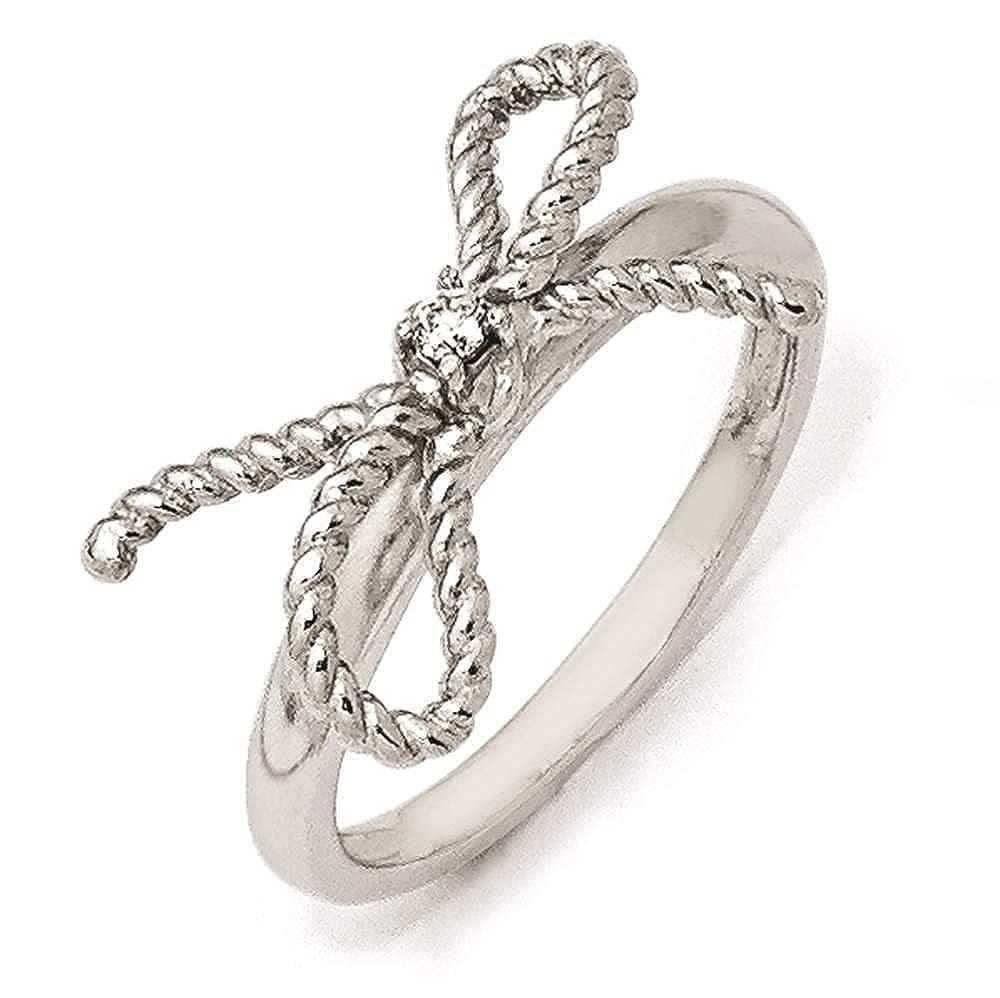Cheryl M Sterling Silver Fancy CZ Ring Size 8