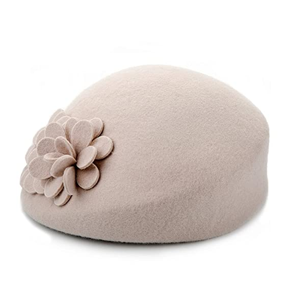 1950s Women's Hat Styles & History doublebulls hats Beret Hat Women Girl Lady Vintage Flower Plain Autumn Winter Wool Dressy Cap $36.02 AT vintagedancer.com