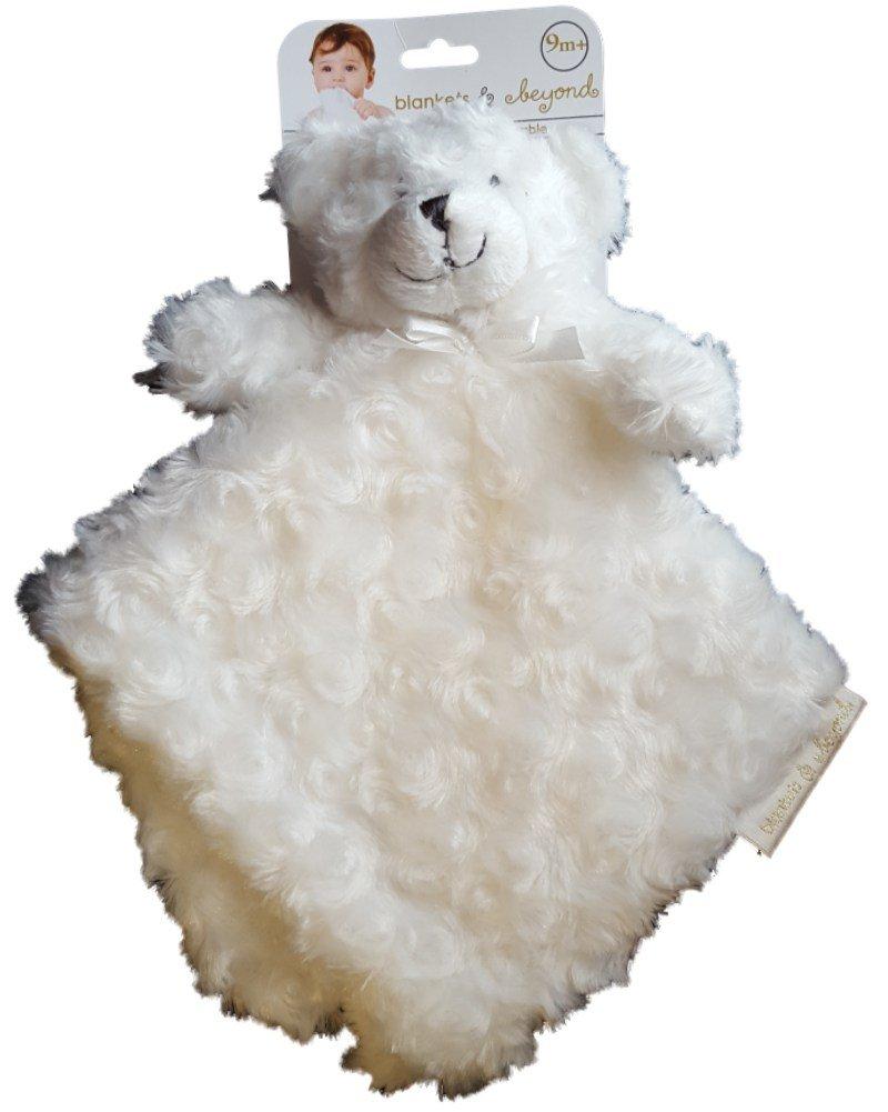 Blankets & Beyond White Rosette Bear Security Blanket