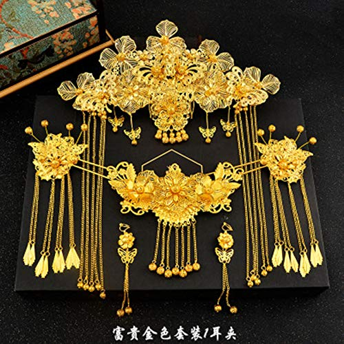 (Traditional Chinese Hair Accessories Style Vintage Chinese Headdress Headpiece Gold Chinese Hair Jewellery Bridal Crown Ornament A)