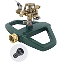 Melnor 65067-AMZ Metal Pulsating Sprinkler with QuickConnect Product Adapter Set, Green, Gold