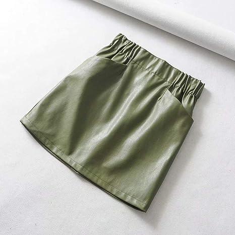 HEHEAB Falda,La Mujer Verde Bolsillo Doble Cintura Elástica PU ...
