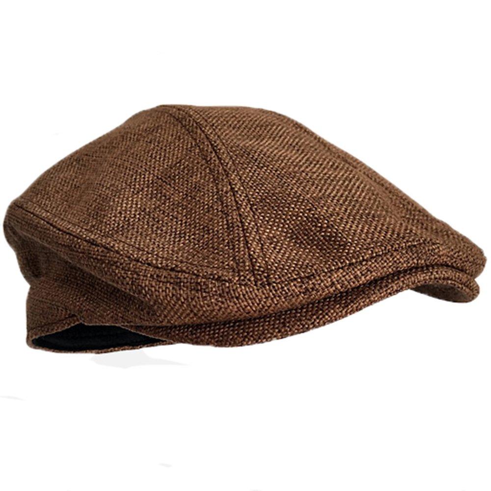 MELUNMHOM Winter Mens Hat Newsboy Cap Flat Beret Cap Wool Blend Vintage Plaid Warm Bonnet X-Large