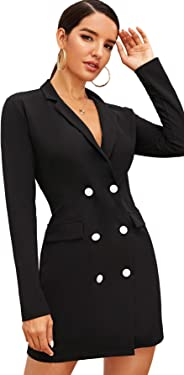 Floerns Women's Puff Sleeve Button Down Blazer Dress Longline Blazer Coat