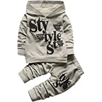 Hirolan Pack of 2 Boy's Clothing Set Baby Hoodie Coat Outfits Toddlers Style Label Hoodie Tops Pattern Trousers Cotton Romper Long Sleeve Bodysuit