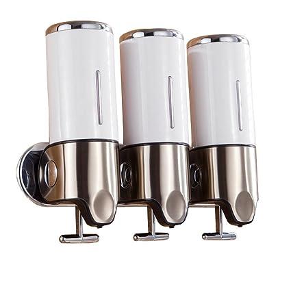 Angelbubbles Dispensador de jabón triple (para jabón, champú y gel) con 3 compartimentos
