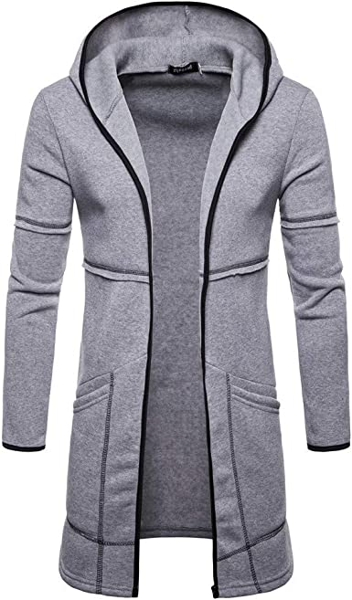 Men Jacket,Dartphew Mens 2018 Fashion Hooded Solid Trench Cardigan Cool Coat