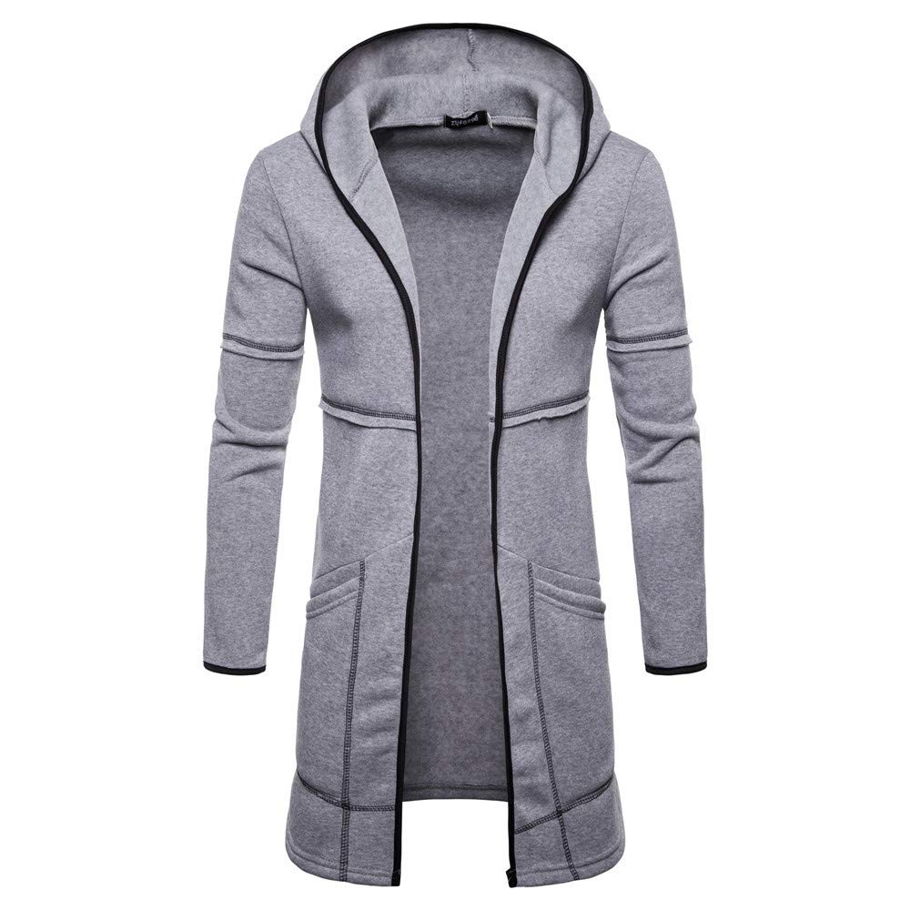 Clearance Sale ! Mens Hooded Jackets, Vanvler Male Trench Coat Long Zipper Outwear Fashion Cardigan Pockets Blouse Vanvler ♣ Men Coat Jackt Handsome -man AA193
