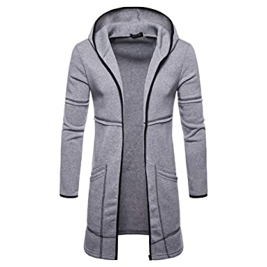 Hoodie Mantel Herren Timogee Männer Mens Slim Fit Kapuze Stricken Mode  Cardigan Lange Trenchcoat Solide Jacke 89bde4f565