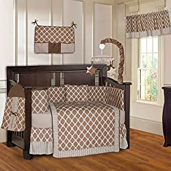 BabyFad Quatrefoil Clover Brown Unisex 10 Piece Baby Crib Bedding Set