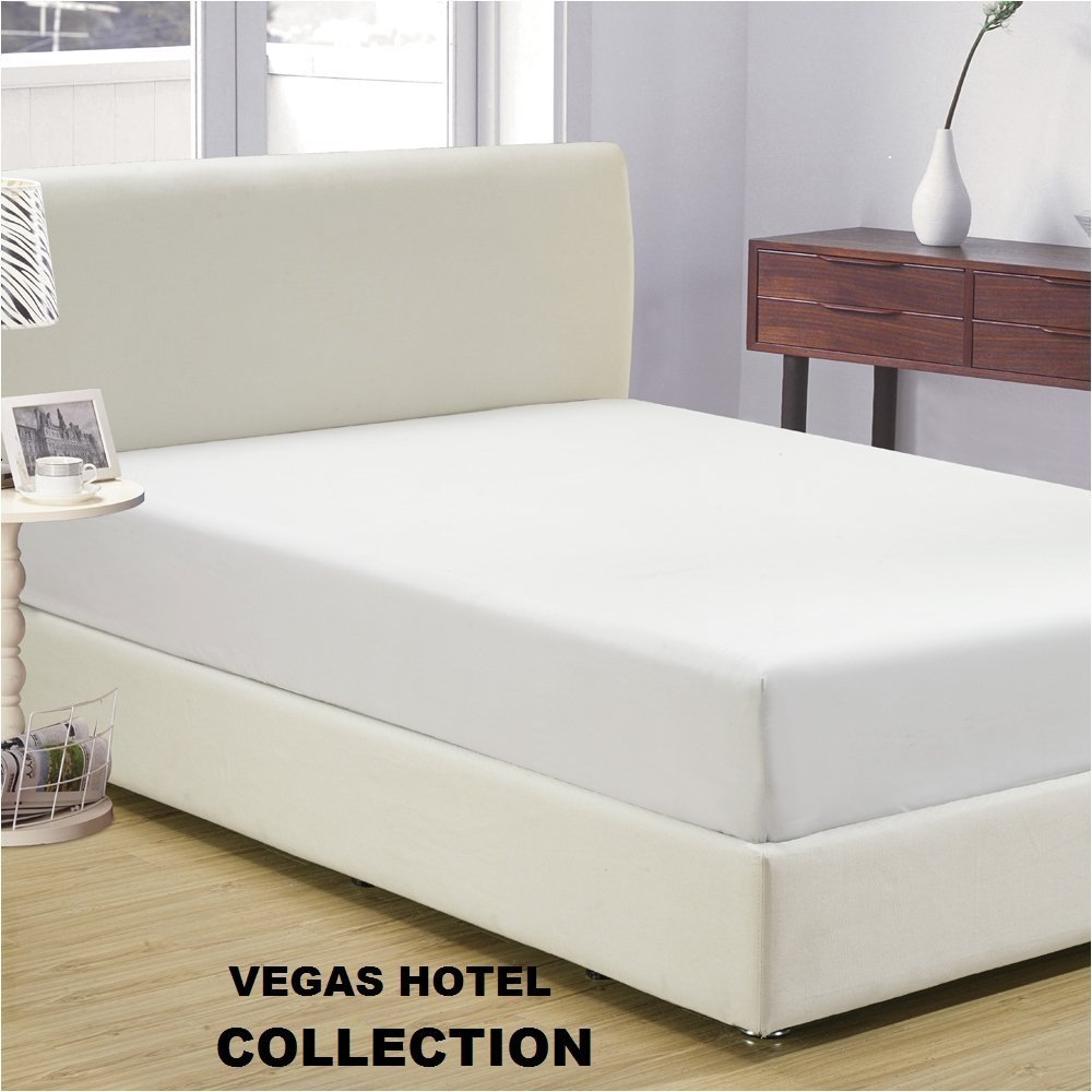 VEGAS HOTEL COLLECTION - 1 PC Fitted Sheet Only - Fabulous White Color 100% Egyptian Cotton 600 Thread Count { Solid : Pattern } Fitted Sheet Perfect Fit King Size ( 15 inch Pocket )