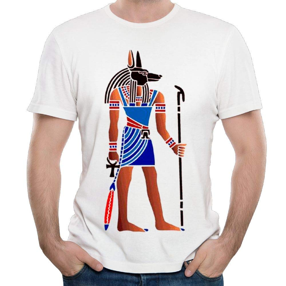 QQWBB Crew Neck Short-Sleeve Tshirt Cotton Retro Egyptian Anubis for Mens