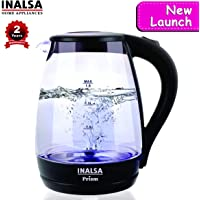 Inalsa 1.8L Glass Electric Kettle PRISM-1500W with LED Illumination,Boro-Silicate Body Auto Shut-Off,Dry Boiling,Over-Heat Protection,Big Mouth,(Black)