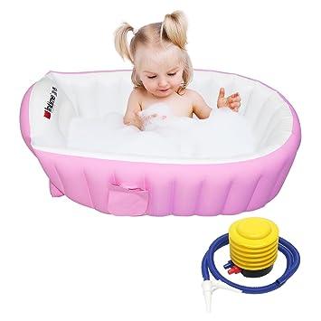 Tragbar Aufblasbare Badewanne Badesitz für Baby Kinder Bad Verdickung Falten