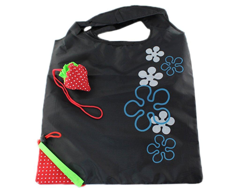 再利用可能なショッピングトートバッグ – Folded Into A Strawberry – ブラック B002M22C96