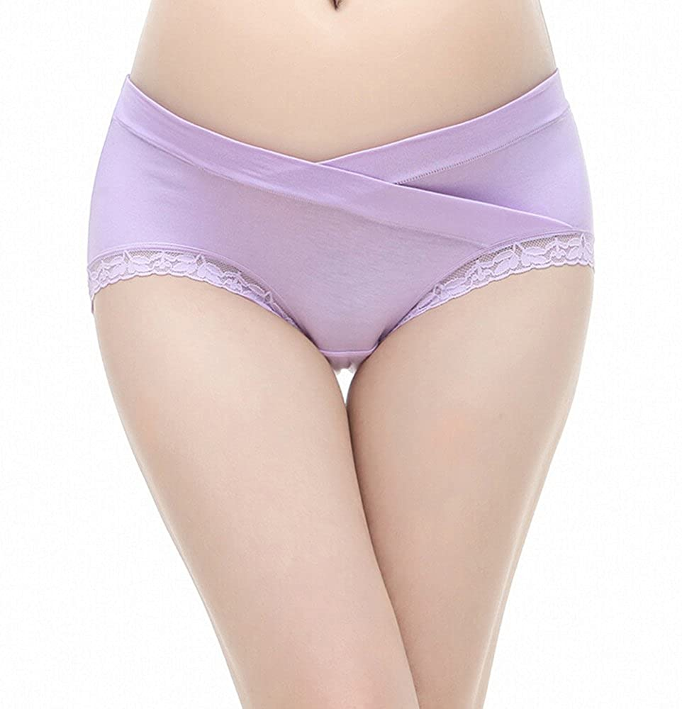 PIDAY Womens Under The Bump Lace Cotton Maternity Underwear Hipsters Panties Multi Pack at Amazon Womens Clothing store: