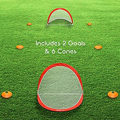 GoSports Foldable Pop Up Soccer Goals, Set of 2, With Agility Training Cones and Portable Carrying Case (Choose from 2.5', 4' and 6' sizes)