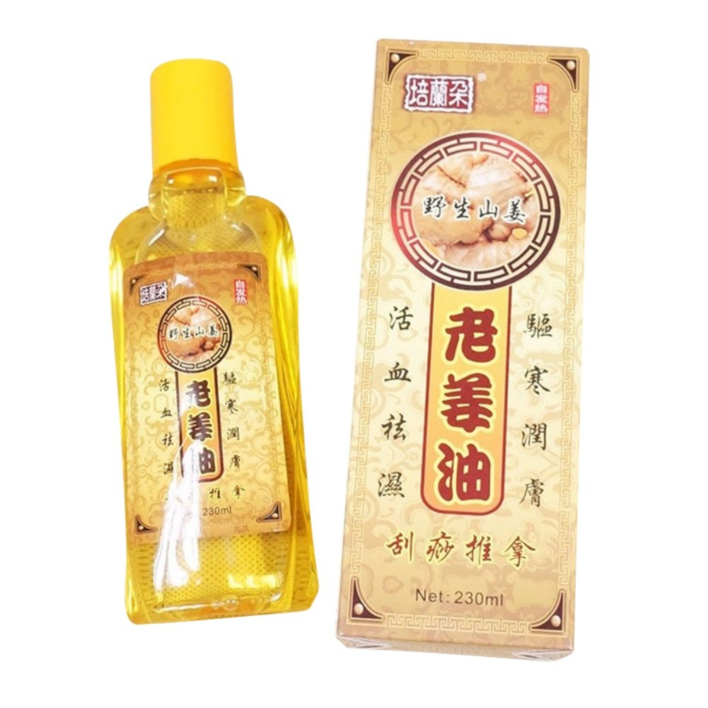 Sizet 230ml Massage Oil Ginger Extract Scrubbing Oil Chinese Popular Treatment Relieve Dizziness & Nausea Lymphatic Drainage Ginger Oil