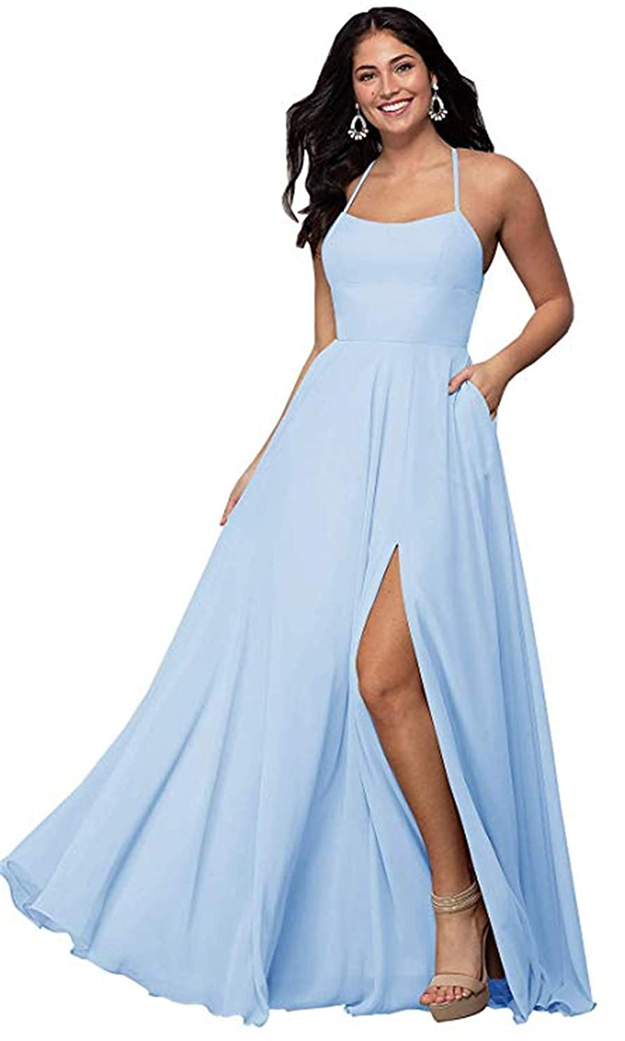 Baby bluee Halter A Line Long Bridesmaid Dresses Split Prom Evening Gowns with Pocket