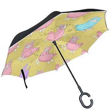 ALAZA - Paraguas inverso de doble capa, diseño de lunares, color rosa