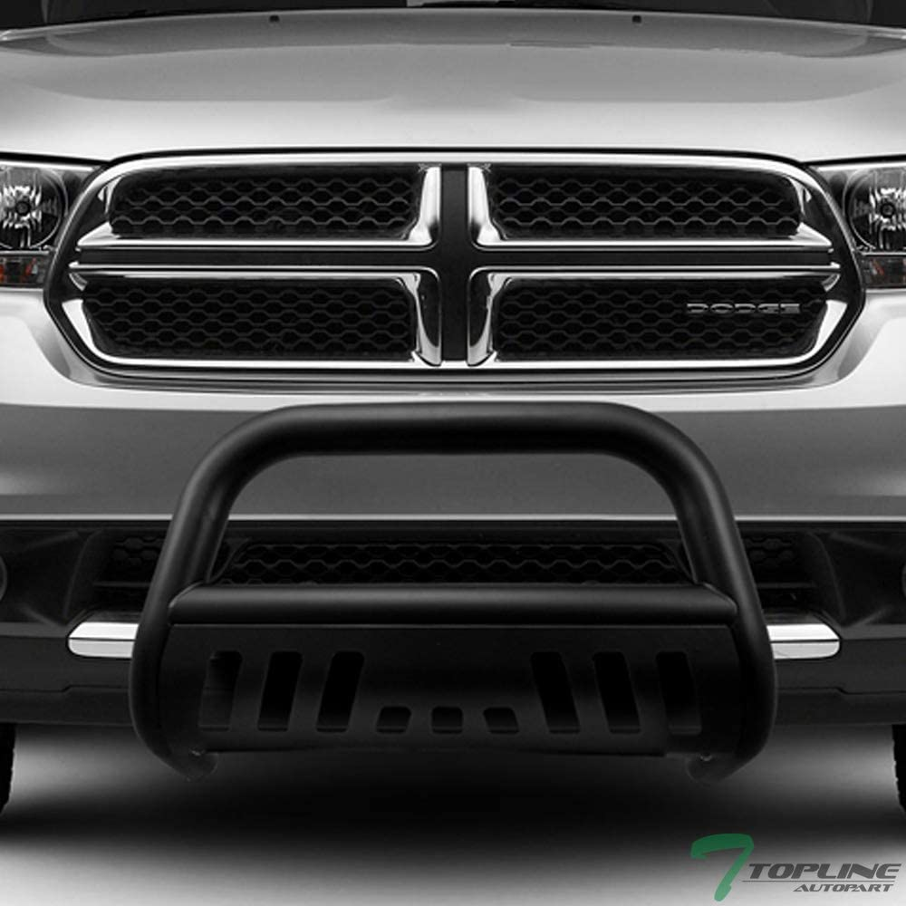 11-15 Jeep Grand Cherokee Topline Autopart Matte Black AVT Style Bull Bar Brush Push Front Bumper Grill Grille Guard With Aluminum Skid Plate For 11-13 Dodge Durango