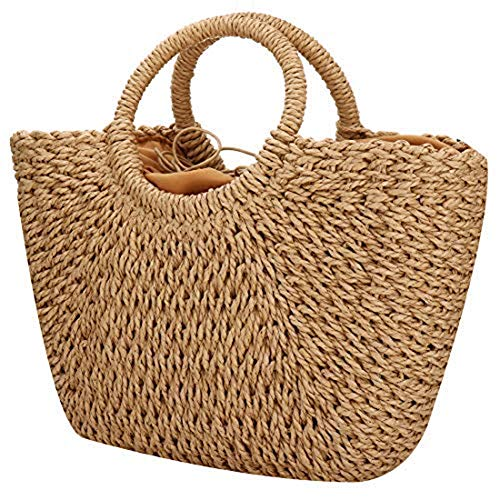 EROUGE Natural Chic Straw Bag Hand Woven Round Handle Handbags Retro Summer Beach Bag Brown