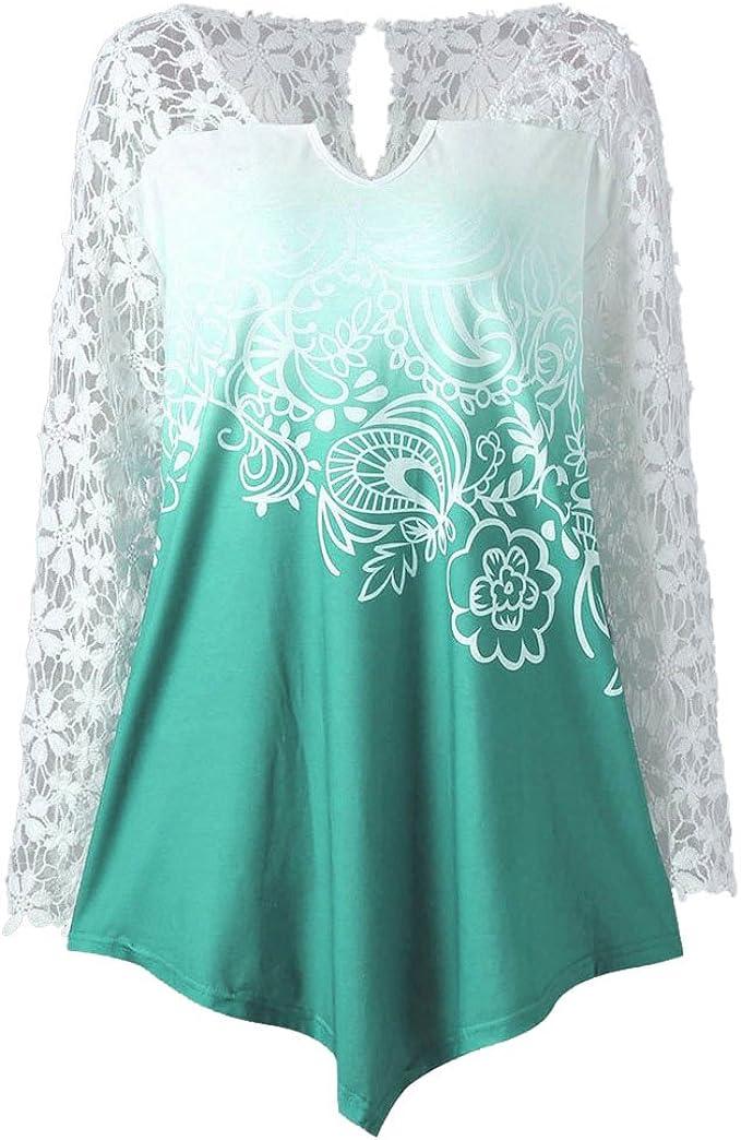 HARRYSTORE Mujer Blusa De Vestir Desigual Manga Larga De Encaje Croché, Tops con Chorreras Flores Impresos para Mujer (Verde, Small): Amazon.es: Ropa y accesorios
