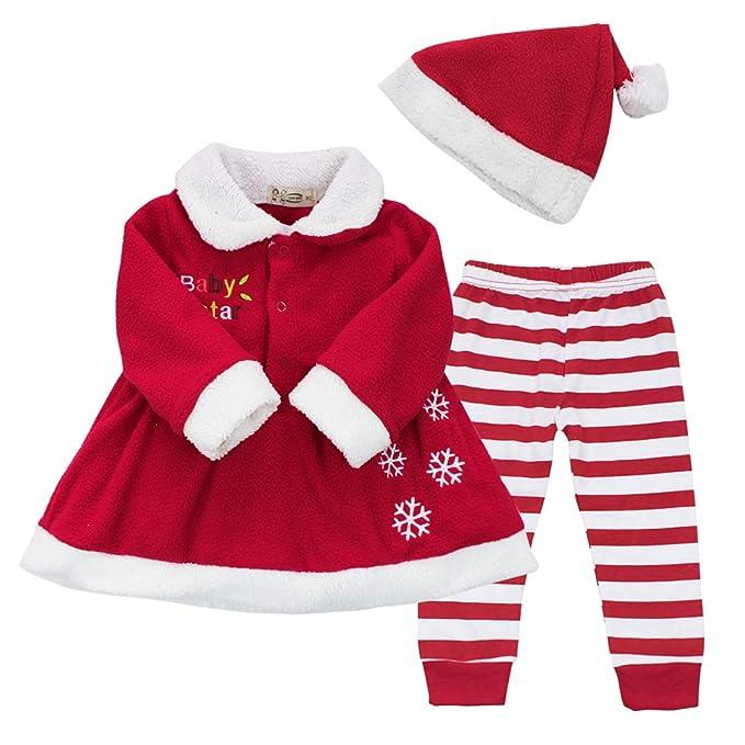 CHICTRY Disfraz Navidad Bebe Conjuntos 3Pcs Vestido Fiesta Manga Larga + Pantalones Rayas+ Gorro de Navidad Chaqueta Invierno para Bebé Niña