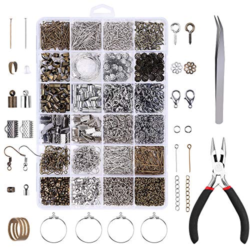 YBLNTEK 1730 Pcs Jewelry Making Supplies Kit Jewelry Findings Necklace Repair Kit with Jewelry Pliers for Jewelry Making Repair DIY Craft Supplies
