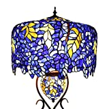 Bieye L10581 20-inches Wisteria Tiffany Style Stained Glass Floor Lamp with Double Lit Review