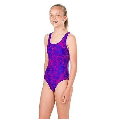 1a5d57142df94 Speedo Girls Boom Allover Splashback Swimsuit: Amazon.co.uk: Clothing