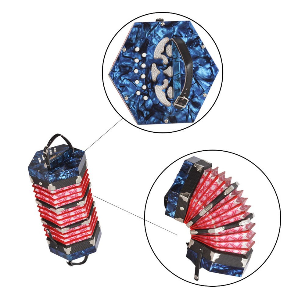 Walmeck Concertina Accordion 20-Button 40-Reed Anglo Style with Carrying Bag by Walmeck (Image #7)
